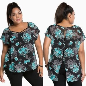 Torrid Floral Chiffon Button Back Floral Sheer Top